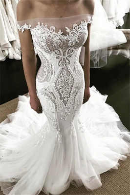 Sexy Bateau Off The Shoulder Applique Fitted Mermaid Wedding Dresses_1