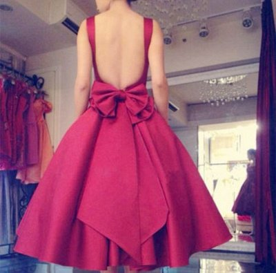 Backless Short Puffy Tea-Length Square-Neck Bowknot Red Prom Dresses_2