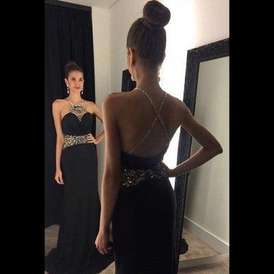 Halter Neck Black Prom Dresses Crystals Crisscross Back Long Evening Gowns_3