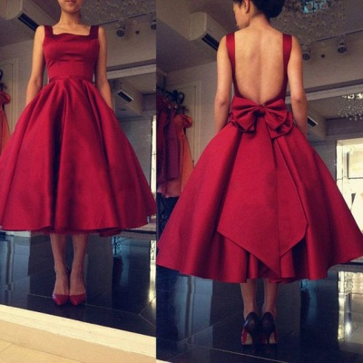 Backless Short Puffy Tea-Length Square-Neck Bowknot Red Prom Dresses_1