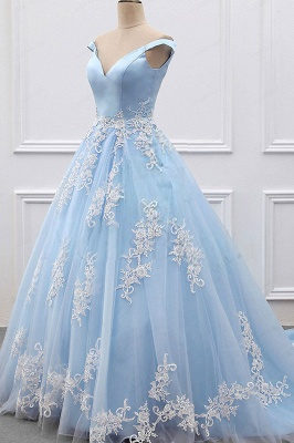 Off-the-shoulder A-line Prom Dresses | V-neck  Applqiues Evening Dresses_3