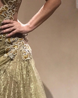 Elegant One-Shoulder Appliques Prom Dresses | Ruched Mermaid Gold Evening Gowns  BC0750_4