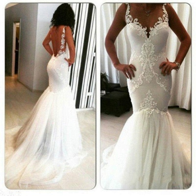 Sleeveless Sexy Appliques Open-Back Mermaid Tulle Wedding Dresses_3