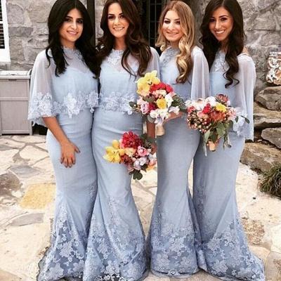 Long Mermaid Appliques Bridesmaid Dresses | Cap Sleeves Lace Wedding Guest Dresses_3