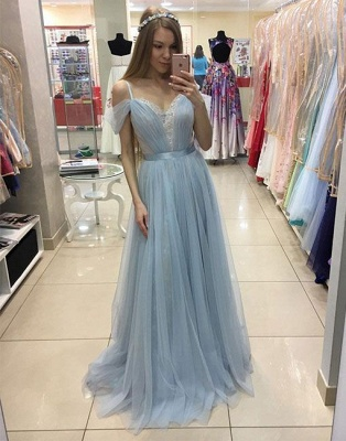A-line Sweep-train Beautiful Tulle Cap-Sleeves Straps Prom Dress_4