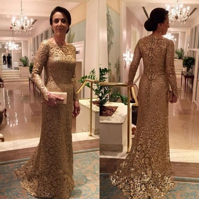 Elegant A-line Long Sleeves Long Lace Mother of Bride Dresses_3