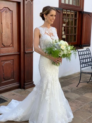 Graceful High Neck Straps Lace Mermaid Fitted Wedding Dresses_2