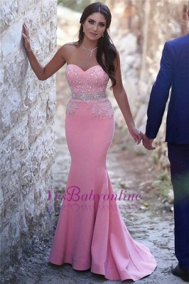 Beads Sleeveless Sequins Pretty Sweetheart Mermaid Crystals Pink Evening Dress_4