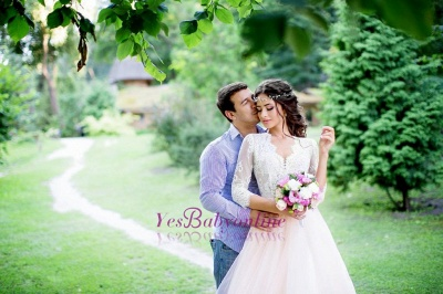 Tulle Outdoor Long Pink Lace Royal Sleeves Wedding Dress_1