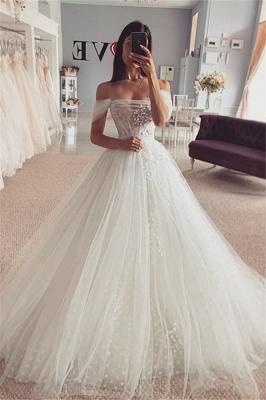 Simple Off The Shoulder Backless Tulle Flower A Line Wedding Dress_1