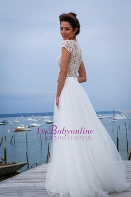 Tulle Chic Simple Short-Sleeves V-neck A-line Wedding Dress_1