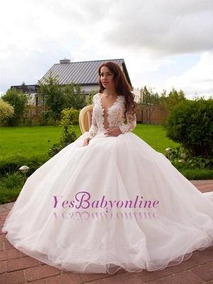 Long Sleeves Tulle Zipper Glamorous Princess Lace Button Wedding Dress_1