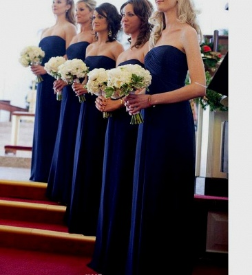 Chiffon Royal Long Chic Blue Evening Bridesmaid Dresses_4
