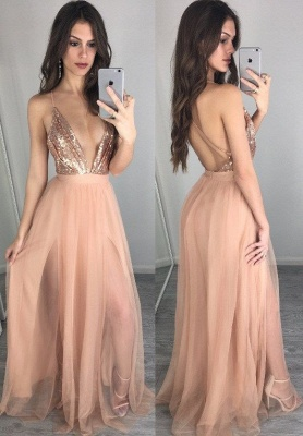 2019 Sexy Prom Dress Sequins Spaghettis Straps Champagne Side Slits Party Dresses_2