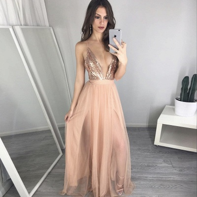 2019 Sexy Prom Dress Sequins Spaghettis Straps Champagne Side Slits Party Dresses_4