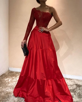 Elegant Mermaid Appliques Prom Dresses | A-Line One-Shoulder Red Evening Gowns_3
