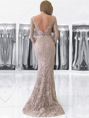 Length Floor Dresses Long Sleeves Fashion With Evening Lace Party Gowns_3