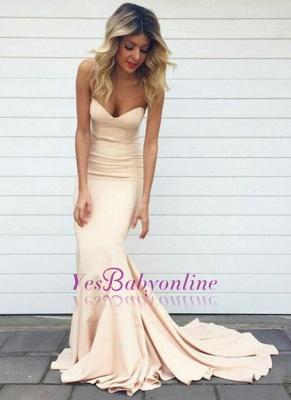 Simple Nude Mermaid Sleeveless Long Sweetheart-Neck Prom Dresses_1