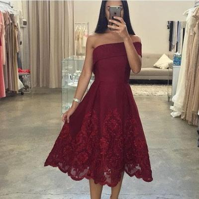 Burgundy Asymmetric Off-the-Shoulder Tea-Length Prom Dresses_3