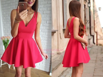 A-line Red Sleeveless Short Simple Straps Homecoming Dress_3