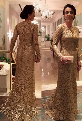 Elegant A-line Long Sleeves Long Lace Mother of Bride Dresses_1