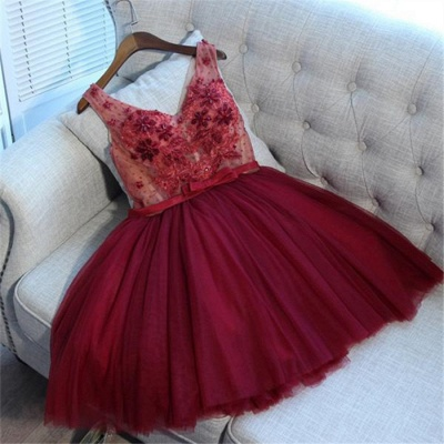 Glamorous V-Neck Tulle Short Hoco Dresses 2019 | Sleeveless Crystal Lace-Up Homecoming Dresses Cheap_4