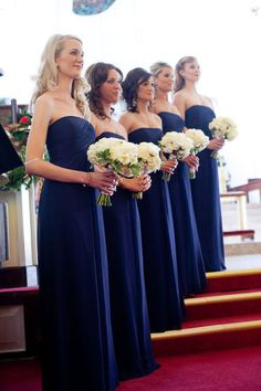 Chiffon Royal Long Chic Blue Evening Bridesmaid Dresses_2