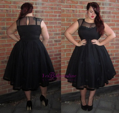 Black Cap-Sleeve Jewel Newest Plus-Size Tea-Length Prom Dress_1