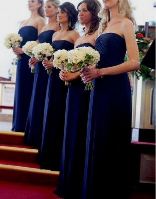 Chiffon Royal Long Chic Blue Evening Bridesmaid Dresses_3