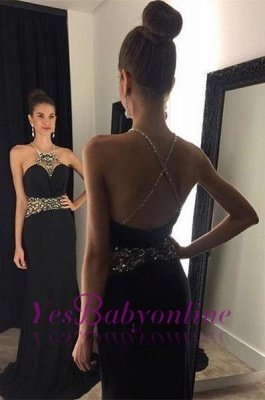 Halter Neck Black Prom Dresses Crystals Crisscross Back Long Evening Gowns_1