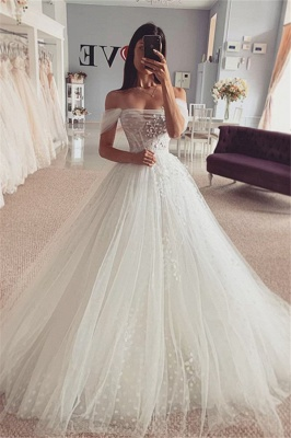 Simple Off The Shoulder Backless Tulle Flower A Line Wedding Dress