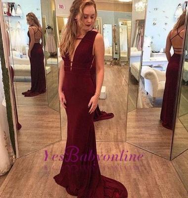 Mermaid Deep-V-Neck Burgundy Sleeveless Crisscross-Straps Prom Dresses_1
