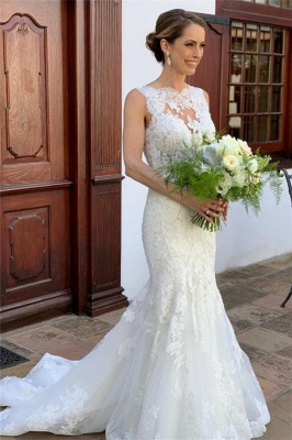 Graceful High Neck Straps Lace Mermaid Fitted Wedding Dresses