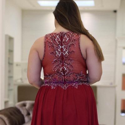 Plus-Size Rhinestones Burgundy  Vintage Jewel A-Line Prom Dresses_1