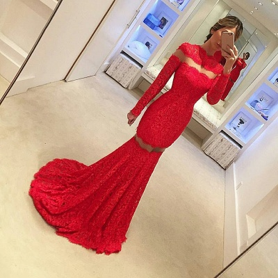 Red Lace Mermaid Prom Dresses Long Sleeves Sheer Sexy 2019 Evening Gowns_3