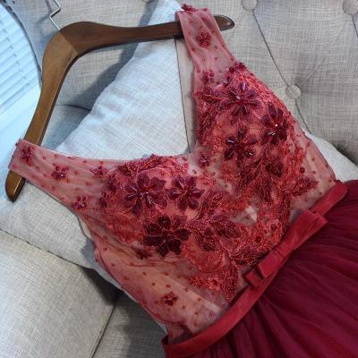 V-Neck Tulle Short Hoco Dresses   Sleeveless Crystal Lace-Up Homecoming Dresses_3