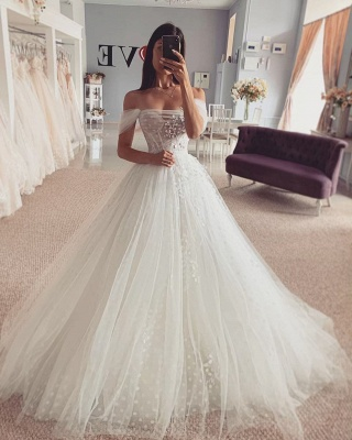 Simple Off The Shoulder Backless Tulle Flower A Line Wedding Dress_2