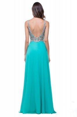 2019 Sexy Open-Back A-Line V-Neck Sleeveless  Crystal Prom Dress_3
