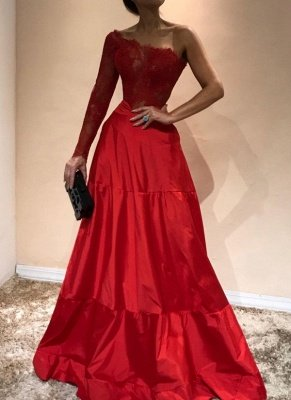 Elegant Mermaid Appliques Prom Dresses | A-Line One-Shoulder Red Evening Gowns_1