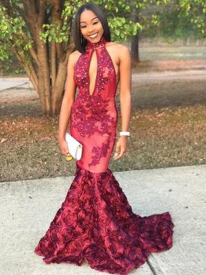 Luxury Lace-Applique Beaded Rose-Flowers Mermaid 3D Prom Dress_2