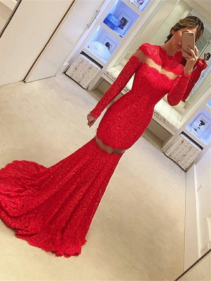 Red Lace Mermaid Prom Dresses Long Sleeves Sheer Sexy 2019 Evening Gowns_2