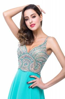 2019 Sexy Open-Back A-Line V-Neck Sleeveless  Crystal Prom Dress_4