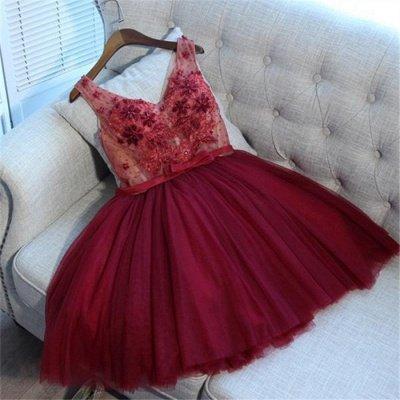 V-Neck Tulle Short Hoco Dresses   Sleeveless Crystal Lace-Up Homecoming Dresses_4