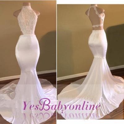 Newest Mermaid Sleeveless High-Neck White Prom Dress_1