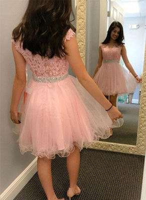 Knee-length Beading Lace Cute A-line Round-neck Cocktail Dress_3