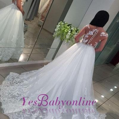 White A-Line Lace Cap-sleeve Romantic Wedding Dresses_1