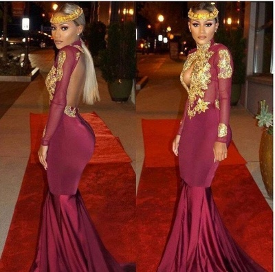 Open-Back Keyhole Mermaid Burgundy Gold-Appliques Long-Sleeves Prom Dresses_3
