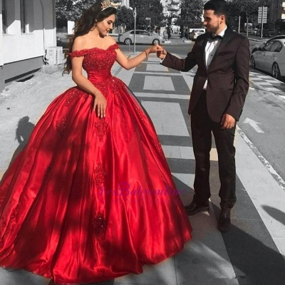 Red Off-the-Shoulder Prom Dresses | Ball-Gown Lace Evening Dresses_1