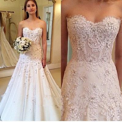 Zipper Lace Appliques  Glamorous Sweetheart Wedding Dresses_3