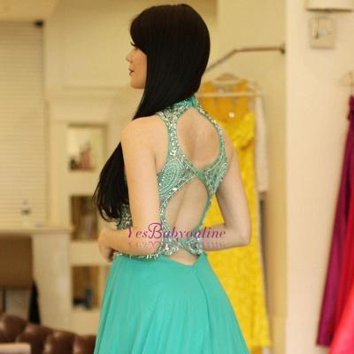 Bodice Illusion  Beading Halter A-Line Sexy Prom dresses_1